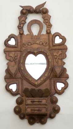 Tramp Art Wall hanging shelf, heart mirrors and wall pocket over two drawers. horseshoe, wings