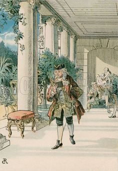 Frederick the Great (1712-1786) in Rheinberg. Illustration from House of Hohenzollern in Pictures and Words by Carl Rohling and Richard Sternfeld. Published by Martin Oldenbourg in Berlin, c 1900.