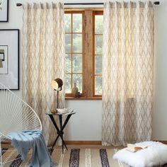 Cotton Canvas Printed Window Panel - Koba | west elm  LR