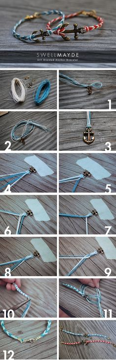 DIY Fishtail Braided Anchor Bracelet by TinyCarmen