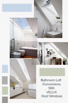 Bathroom Loft Conversions and tips to create light and space in a loft bathroom With VELUX Roof Windows Loft Playroom, Loft Room, Loft Bathroom, Bathrooms, Modern Roofing, Roof Window, Relaxation Room, High Walls, Light And Space