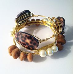The Columbia gold wire wrapped bracelet bangle with by SOHbangles