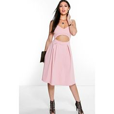 Boohoo Night Lori Cut Out Frill Midi Skater Dress ($30) ❤ liked on Polyvore featuring dresses, peach, white party dresses, white maxi dress, white tuxedo, white slip dress and white cocktail dresses