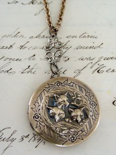 FOX Locket Necklace  Vintage Brass Baby by chloesvintagejewelry, $38.00