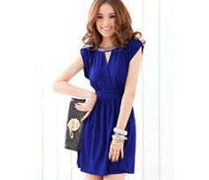 $12.32 Beauty Spandex Blue OL Style Scoop Pleated Short Sleeve Above Knee Office Lady Dresses