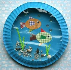 Waterworld Fish. Ocean. Water.  Clever and fun craft made with paper plates, craft paper, glue, etc.