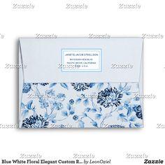 Shop Blue White Floral Elegant Custom Return Address Envelope created by LeonOziel. Envelope Sizes, Addressing Envelopes, Return Address, Thank You Cards, Colorful Backgrounds, Stationery, Greeting Cards, Blue And White, Elegant