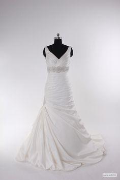 bohemian wedding Fashionable v-neck empire waist satin wedding dress $318.98