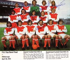 1973 Arsenal FC signed team photo FA Cup Semi Final Alan Ball Ray Kennedy Charlie George George Graham Sammy Nelson Peter Marinello autograph