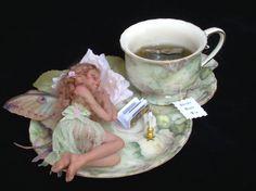 """Sleepy Time Tea"" by Cheri Hiers Fee Du Logis, Teacup Crafts, Fairy Jars, Fairy Figurines, Beautiful Fairies, Fairy Dust, Doll Maker, Fairy Dolls, Creations"