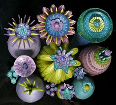 Floral Dreamscape 2 by Carol Simmons (top view) Polymer Clay and wire.  https://www.facebook.com/CLSDesigns