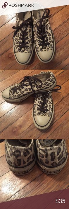 Leopard Converse Chuck Taylor All Star Your class chuck but in a leopard print, gently used but in great condition, have just been sitting in my closet. Tan soles, brown laces. Women's size 8 (for reference I'm typically an 8.5 in sneakers). Converse Shoes Sneakers