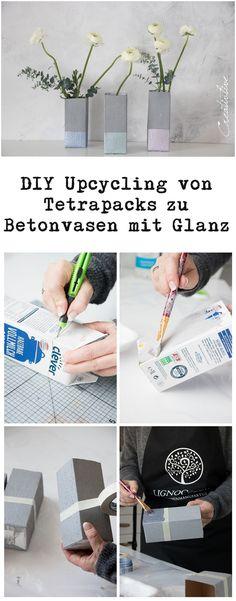 DIY Upcycling Tetrapacks mit Beton Effekt Farbe und Metallic Farbe