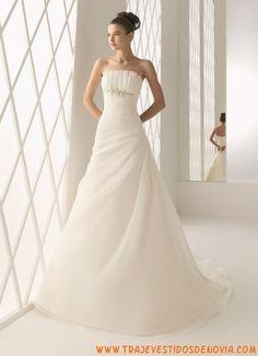 Vestidos de novia de organza strapless sencillos