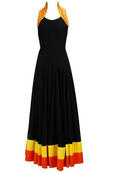 Black anarkali set with orange and yellow embroidery available only at Pernia's Pop-Up Shop.
