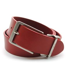 (JPB016-RED) Casual Leather Belt from W32 to W36
