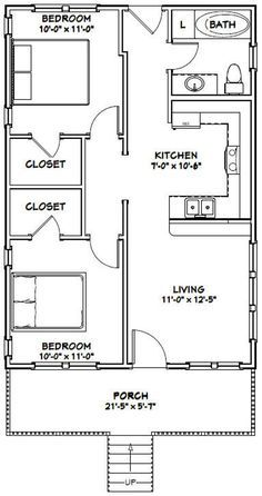 Guest House Plans, 2 Bedroom House Plans, Small House Floor Plans, Dream House Plans, Dream Houses, House 2, Cottage House, Tiny House, The Plan