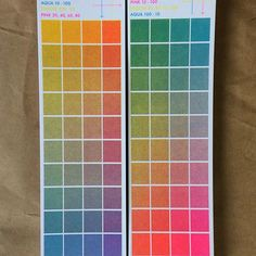 We made a couple colour overlay charts for combinations of Aqua, Flo Pink & Yellow #risograph ink! Grab one from us at @printedmatterinc's #NYABF! Tomorrow through Sunday, table A25 in the zine tent!