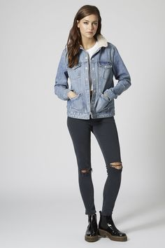 MOTO Light Stone Borg Western Jacket - Jackets & Coats - Clothing - Topshop USA