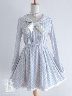 bf51132b2254a 🌹LIZ LISA🌹Sailor -Collar Bow Dress Blue Plaid LARME Lolita Hime Japan-