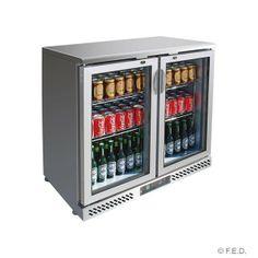 2 door stainless bar fridge