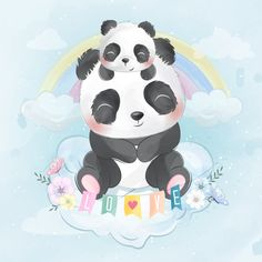 Cute panda with baby panda sitting in a . Little Panda, Panda Love, Cute Panda, Cute Fox, Boat Cartoon, Cute Cartoon, Baby Animal Drawings, Cute Drawings, Panda Protection