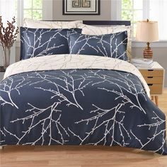 2017 Printed Branch Plant Bedding Sets Twin Queen King Size Boho Palace Bedding Set Duvet Cover Bed Sheet Bed Cover S4BS015 #Affiliate