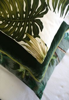 retro monstera leaf  cushion stack
