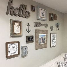 Love seeing my signs in their homes, and this gallery wall from @breezy1120 always makes me smile  Mason jar Est. signs available through my shop  link in bio!  #therustic4 #shopsmall #shophandmade #rustichome #rusticdecor #rusticsigns