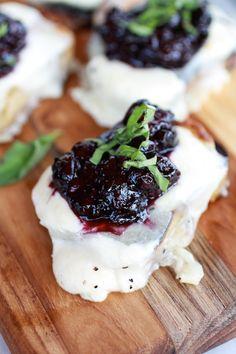 Blueberry Basil Balsamic Mozzarella Crisps