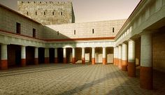 """This reconstruction shows the peristyle courtyard at Machaerus, where Herod Antipas sat and watched the deadly dance of his step-daughter Salome. Author Győző Vörös told Bible History Daily that this reconstruction was based on details from the excavation, including """"hundreds of fragments from the red tiled roof of the former Herodian royal palace."""" This reconstruction, published for the first time by the Biblical Archaeology Society, is courtesy of Győző Vörös and the Hungarian Academy of…"""