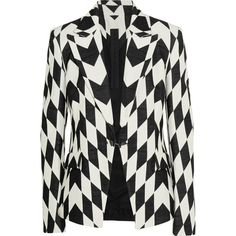 Gareth Pugh Bowie cotton-blend faille jacket ($585) ❤ liked on Polyvore featuring outerwear, jackets, blazer, gareth pugh, white and black blazer, tailored blazer, short-sleeve blazers, blazer jacket and white and black blazer jackets