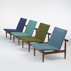 Set of four Finn Juhl lounge chairs for John Stuart, Inc (Denmark/USA), 1950 (teak, upholstery, brass) Mcm Furniture, Danish Furniture, Furniture Styles, Furniture Design, Plywood Furniture, Cool Chairs, Lounge Chairs, Josie Loves, Arne Jacobsen