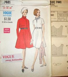 Flare Skirt Empire Dress Lapped Jacket Women's Vintage 1960s Vogue Young Fashionables Sewing Pattern 7441 Bust 36 Factory Folds with Label