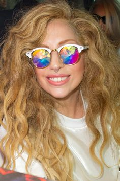 lady gaga wears h0les kaleidoscope glasses