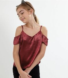 ea23a5bfd46 Teens Burgundy Sateen Cold Shoulder Top | New Look Girls Shopping, New Look,  Teen