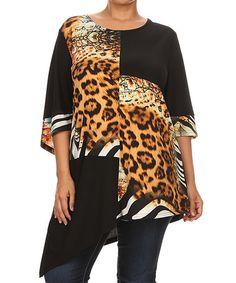 This Brown & Black Cheetah Asymmetrical-Hem Tunic - Plus is perfect! #zulilyfinds