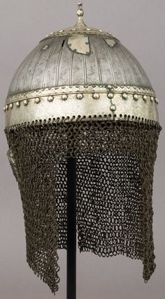 Circassian / Caucasian helmet, 18th to 19th century, steel, silver, H. including mail 14 3/8 in. (36.5 cm); H. excluding mail 6 7/8 in. (17.5 cm); W. 8 in. (20.3 cm); D. 9 in. (22.9 cm); Wt. 3 lb. 4.5 oz. (1488.4 g), Bequest of George C. Stone, 1935. Met Museum.