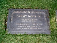 Grave Marker- Sammy Davis Jr, singer/actor (Golden Boy). He is interred in the…