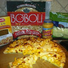 Mac N Cheese Pizza  Ingredients: - Boboli Pizza Crust - 1cup uncooked elbow macaroni - 1/2 jar Ragu double cheese sauce - 2% skim shredded mozzarella  Cook macaroni according to package directions. Drain and return to pan.  Mix in cheese sauce thoroughly. Spread evenly over Boboli crust. Top with mozzarella cheese. Bake at 450 for...