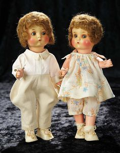 "Soirée: Antique Dolls and Automata: 183 Pair, All-Original German Bisque ""Just Me"" Characters by Marseille"