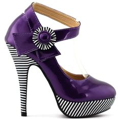 Show Story Grape Flower Ankle Strap Stripe Stiletto High Heel Platform Pumps,LF30404DP39,8US,Grape