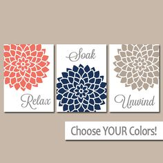 Coral Navy BATHROOM Decor Wall Art, CANVAS or Prints, Bathroom Pictures, Relax Soak Unwind, Quote Flower Dahlia Artwork, Set of 3 Home Decor