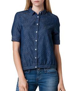 Blue shirt / Levi's bandes smiley blouse