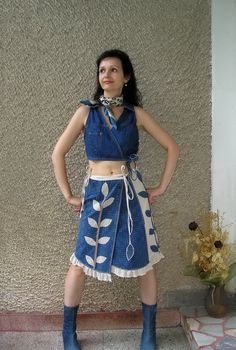 Eco Skirt, Asymmetric Artsy Wrap Skirt, Shabby Chic Applique, Upcycled Clothing by EcoClo, Size S-M. $68.00, via Etsy.