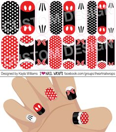 Disney Minnie & Mickey Mouse inspired Jamberry NAS Nail Wrap Design. Why bother with nail art designs and polish when Jamberry nail wraps are so much easier? Get the pretty nails you've always wanted for a fraction of the cost of a salon visit.  #iheartnailwraps #nailart #naildesigns #jamberry #jamicure #nails #disney #minniemouse #mickeymouse #disneland #disneynails