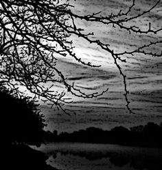 Stormy River - Landscape Print - Contemporary Art - Black and White Giclee. $68.00, via Etsy.