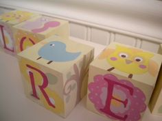 Baby Name Blocks- Personalized and Handpainted- WOODLAND CREATURES Theme