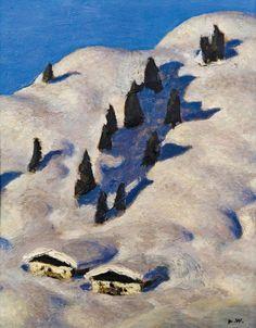 "amare-habeo: ""Alfons Walde (Austrian, Pastures in the Snow (Almen im Schnee), N/D oil on board "" Mountain Art, Mountain Landscape, Winter Landscape, Stolen Image, Landscape Paintings, Landscapes, My Images, Snow, Art Prints"