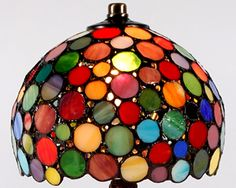 Multicolored stained glass lamp.